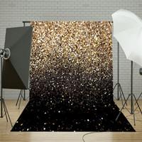 fondo de los puntos al por mayor-Freya 50x210cm vinilo partido brillo negro oro punto Fotografia Foto estudio telón de fondo fotografía fondo 5x7ft para estudio foto