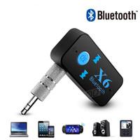 altavoz bluetooth lector usb al por mayor-X6 Adaptador Bluetooth 3-en-1 Inalámbrico 4.0 USB Receptor Bluetooth AUX 3.5 mm Jack de audio TF Lector de tarjetas MIC Llamada Soporte Altavoz para automóvil