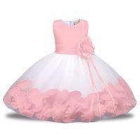 roupas para festa de aniversário venda por atacado-Rosa Vermelho Branco Inchado Tule Vestido Da Menina de Flor para Casamentos vestido de Baile Partido Menina Comunhão Baptismo Bebê 1o Aniversário Outfit