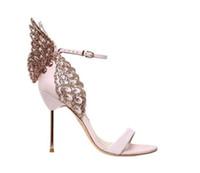 kadın kelebek askısı sandalet toptan satış-Marka Tasarımcısı Topuklu Kadın Evangeline Kanat Deri Sandalet 100mm Metal topuk Burnu açık Kelebek Stilettos toka Kayış Kristal Sandalet