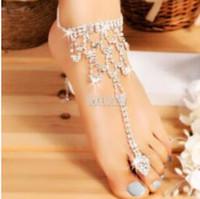 zehenkugelstrand großhandel-Designer Fußkettchen für Frauen Braut Kristall Strand Fußkettchen barfuss sogar die Zehe heiße Mode frei von Versand