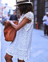 Wholesale ladies elegant jackets - In the summer of 2018 elegant women casual short slim lace miniskirt sexy ladies Jacket White Dress Plus Size lining