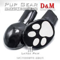 guante para bondage al por mayor-(DM4091) Látex natural 100% látex natural hecho a mano de segunda piel bondage perro cachorro engranaje esclavo guantes
