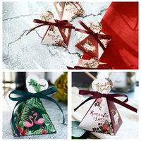 Wholesale christmas giveaways - 50Pcs Green Flamingo Triangular Pyramid Candy Boxes Wedding Favors Bridal Shower Party Gift Box Giveaways Box DDA713