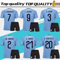 erwachsene tops großhandel-2018 World Cup Suarez Uruguay Home blau Erwachsene Kits Fußball Jersey TOP QUALITÄT Edison Cavani Forlan Godin Uruguai 17 18 weg Fußball-Trikot