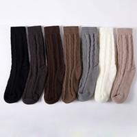ingrosso cosce calze lunghe-New Fashion 1 paio di ragazze da donna che lavorano a maglia con il cavo caldo Knit Over knee Long Boot Thigh-High Winter Soft Socks