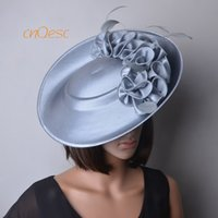 chapéu cinza cetim venda por atacado-chapéu formal, cinza prata grande cetim fascinator pires fascinator de derby do dia do casamento da mãe