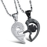 Wholesale lock key necklace couple - Fashion Valentine Gift Lock And Key Couples Necklaces Black White Titanium Stainless Steel Heart Pendant For Women Men OGX845