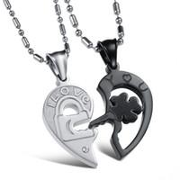 ingrosso ciondolo a chiave per uomini-Moda regalo San Valentino serratura e chiave coppie collane nero bianco titanio cuore pendente in acciaio inox per donna uomo OGX845