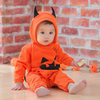 fleece-overalls großhandel-Baby Kinder Fleece Winter Strampler Halloween Kürbis Roben niedlichen Overall Kinder Onesies Infant ein Stück Cosplay Kostüme Kleidung