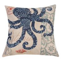 ingrosso cuscini di lino blu-Fodera per cuscino quadrato in lino cotone 18x18
