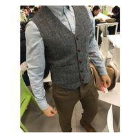 Wholesale gray wool vest for sale - Group buy 2019 Latest Farm Wedding Wool Vests Gray Groom Vest Slim Fit Mens Suit Vest Prom Wedding Waistcoat Dress Plus Size