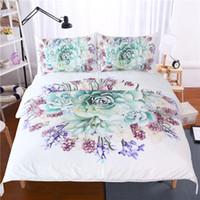Wholesale flower floral bedding set 3d resale online - Green Succulents D Bedding Set Flower Plant Printed Duvet Cover Pillowcase Floral Bed Cover Twin Full Queen King Size Bedlinen