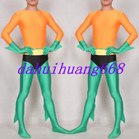 ingrosso costume arancione supereroe-Fantasy Supereroe Spawn Costumi New Orange / Green Lycra Spandex Spawn Suit Catsuit Costumi Unisex Super Hero Spawn Body Suit Costumi DH296