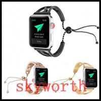 Wholesale girl bracelets watch resale online - Luxury Stainless Steel Bracelet Strap For Apple Watch bands iwatch MM MM MM MM Metal Adapter girl gift