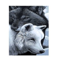 Wholesale gray oil art - Frameless Gray Wolf Diy Painting By Numbers Calligraphy Painting Modern Wall Art Picture By Numbers Home Decor Drop