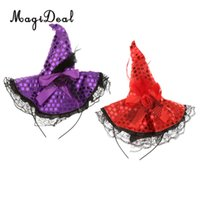 Wholesale Red Pirate Dress - 2 Pieces Purple Red Mini Witch Hat Headband Kids Party Fancy Halloween Cosplay Costume Dress