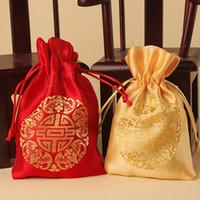 1ee9c428e7 Großhandel Gold Rot Kordelzug Geschenk Beutel Seide Segen Süßigkeiten  Taschen für Hochzeitsfestbevorzugung Brokat Schmuck Verpackung Geschenk  Taschen