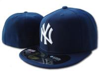 ingrosso ny cappello piatto-All'ingrosso 2018 Men's New York Classic Blu Navy cappello montato piatto Brim embroiered squadra ny logo fan cappello da baseball di alta qualità pieno chiuso ossa