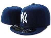 ny sombrero plano al por mayor-Venta al por mayor de 2018 new york clásico azul marino de los hombres equipado sombrero de ala plana bordado equipo ny logo ventiladores sombrero de béisbol de calidad superior completo huesos cerrados