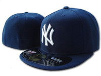Wholesale york hats resale online - Men s new york classic Navy Blue fitted hat flat Brim embroiered team ny logo fans baseball Hat top quality full closed bones