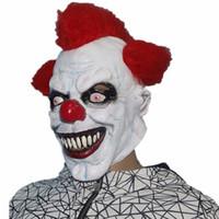 traje de sonrisa de adulto al por mayor-Scary Clown Mask Wide Smile Red Hair Evil Disfraz de Halloween espeluznante NUEVO