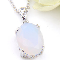 Wholesale silver 925 necklace gem for sale - Group buy Luckyshine mm Natural stone Moonstone Gems Sterling Silver Oval Vintage for Women Wedding Engagement Pendants Jewelry