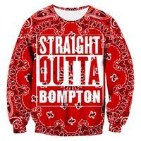 ingrosso uomini di camicia bandana-Felpa da uomo Bandana rossa Straight Outta Bompton Graphic Shirt Fashion 3D Print Homme Crewneck Streetwear Sudaderas Hombre