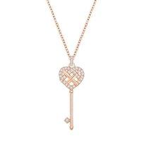 ingrosso collana del cuore della catena chiave-Collana con ciondolo chiave a forma di cuore in oro rosa originale donna Elegante catena a clavicola retrò di lusso Fabbrica diretta