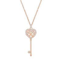 colar do coração da corrente chave venda por atacado-Original charme rose gold coração em forma de chave colar de pingente de mulheres de luxo elegante retro clavícula cadeia direto da fábrica