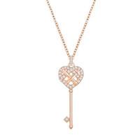 anahtarlık kalp kolye toptan satış-Orijinal Charm Gül Altın Kalp Şeklinde Anahtar Kolye Kolye Kadınlar Zarif Lüks Retro Klavikula Zinciri Fabrika Doğrudan