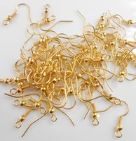 Wholesale earring diy gold plated resale online - DIY JEWELRY Making Earring Hook Coil Ear Wire WITH BEAD