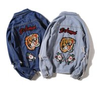 brassard achat en gros de-Applique brodée tigre Brassard Hip Hop Denim Jean Vestes Hommes Femmes Mode Bomber Homme Veste Coupe-vent Streetwear Couples Robe