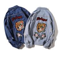 kol bandı ceketi toptan satış-Işlemeli aplike kaplan Armband Hip Hop Denim Jean Ceketler Erkek Kadın Moda Bombacı Adam Ceket erkek Rüzgarlık Streetwear Çiftler Elbise