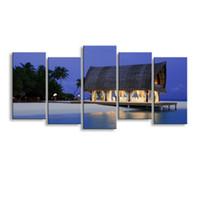 остров фотография оптовых-5 штук высокой четкости печати sea Island холст печатает живопись плакат и стены искусства гостиной картина HaiD-011