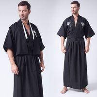 ingrosso yukata bianco-Bianco nero uomini kimono Giappone ninja samurai costume abbigliamento Giapponese Mens Warrior Kimono Yukata Haori Robe costumi cosplay