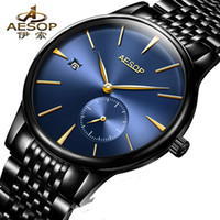Wholesale thin waterproof watch men - AESOP Ultra-Thin Watches Men Simple Design Automatic Mechanical Waterproof Transparent Sapphire Glass Stainless Steel Clock