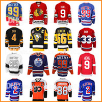 Wholesale hockey 33 - 99 Wayne Gretzky 66 Mario Lemieux 9 Bobby Hull Hockey Jersey 9 Gordie Howe 4 Bobby Orr 33 Patrick Roy 88 Eric Lindros Leetch Messier top