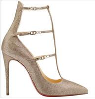 sandalias de gamuza stiletto tobillo correa al por mayor-2016 El más nuevo sexy rojo de cuero de gamuza sexy punta estrecha tobillo correa sandalias cut out stiletto zapatos de mujer vestido zapatos de boda mujer bombas
