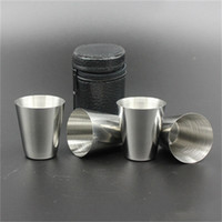 Wholesale field glasses for sale - Group buy Small Wine Cup Stainless Steel Liquor Cups Liquors Outdoors Portable Glass Bearing Sleeve Travel Fishing Field gc dd