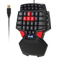 Wholesale mini keys keyboard - LED Backlight gaming keyboard T9 Pro 47-Key wired Professional mini keyboard 7 Color Backlit Single Hand 30-keys Ergonomic Keypad Free DHL