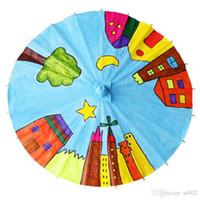 dibujo de paraguas al por mayor-Creativo de papel en blanco paraguas niños diy pintura hecha a mano jardín de infantes arte principal artesanía paraguas iniciación dibujo talento 1 95 8zy4 ii
