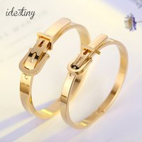 Wholesale Belt Ring Jewelry - Fashion Stainless Steel Belt Buckle Bangles&Bracelets Openable Rose  Gold Silver Color Women Brand Jewelry Top Quality Wholesale