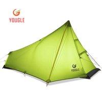 кемпинговые палатки для одного человека оптовых-YOUGLE легкий 15D нейлон один человек один человек рюкзак палатка треккинг кемпинг навес путешествия 3 сезон силиконовое покрытие