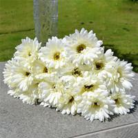 ingrosso fiori di fiori artificiali-10 pz / lotto Gerbera Daisy Fiore artificiale per la decorazione Seta Girasole Bouquet Fiori Wedding Garden Home Party Decor