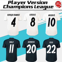 Wholesale real player online - 2019 Champions League Player Version Soccer Jersey Real Madrid Home Soccer shirt RONALDO KROOS ISCO Football uniform