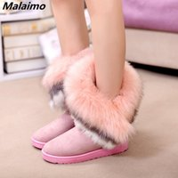 Wholesale feather leather hair online - Winter new round boots thickened anti skid snow boots for women fringed rabbit hair and cotton boots