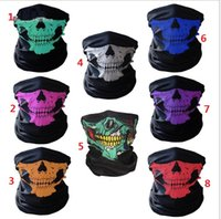 Wholesale Half Balaclava - unisex Halloween Cosplay Bicycle Ski Skull Half Face Mask Ghost Scarf Bandana Neck Warmer Party headband Magic Turban balaclava 300pcs