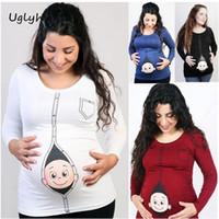 vêtements de grossesse grande taille achat en gros de-2017 Nouvelle Maternité Chemise Top À Manches Longues Grossesse Vêtements Grand Cadeau T-shirts Casual Plus La Taille M1MO83
