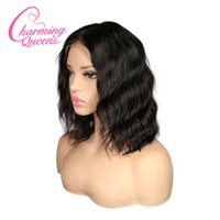Wholesale human hair silk top bob online - Charming Queen Silk Base Lace Front Human Hair Wigs For Black Women Remy Hair Wavy Short Bob Silk Top Wigs With Baby Hair